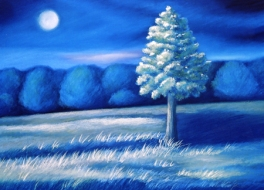 Moonlit tree Painting by Dawn Nagle - www.dawnnaglegallery.com