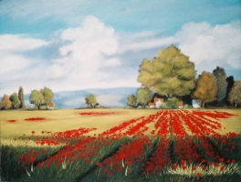 Field of Poppies Painting by Dawn Nagle - available on www.dawnnaglegallery.com
