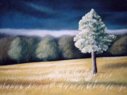 Tree facing storm Painting by Dawn Nagle - www.dawnnaglegallery.com