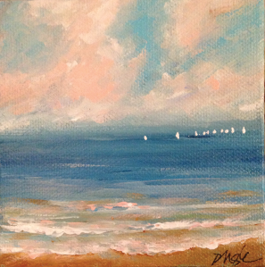 Sunset sail painting by Dawn Nagle