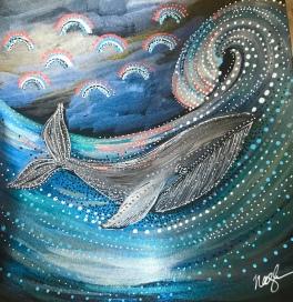 Metallic Whale painting - www.dawnnaglegallery.com